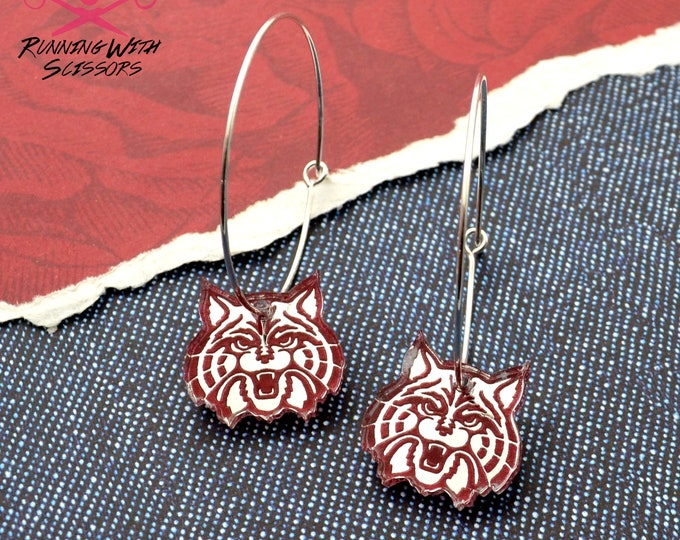 U of A WILDCAT - Dangle Charm Hoops - Silver Mirror and Red Laser Cut Acrylic University of Arizona Earrings
