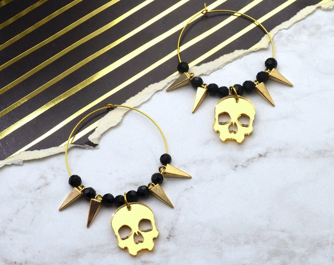 Rockstar Skull Hoop Earrings - Gold OR Silver
