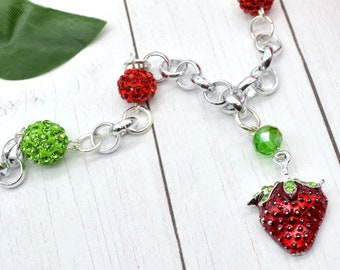 Strawberry Sweetheart Charm Necklace