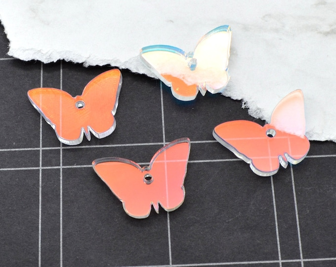 HOLOGRAPHIC BUTTERFLY CHARMS - In Clear Iridescent Laser Cut Acrylic