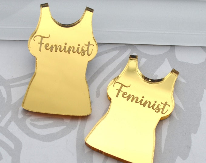 Feminist - Gold  Mirror Cabs - Cabochons - flat back - Laser Cut Acrylic