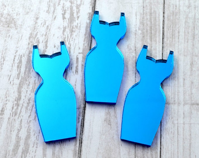 PINUP DRESS CABOCHONS - Blue Mirror - Flatback Cabs - Laser Cut Acrylic - Set of 3