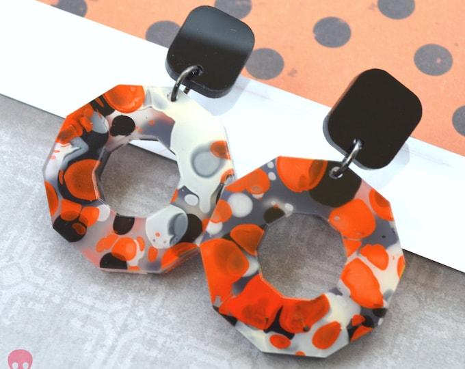 TAHITI HOOPS  - In Orange Ink Laser Cut Acrylic - Post Top Dangle Earrings