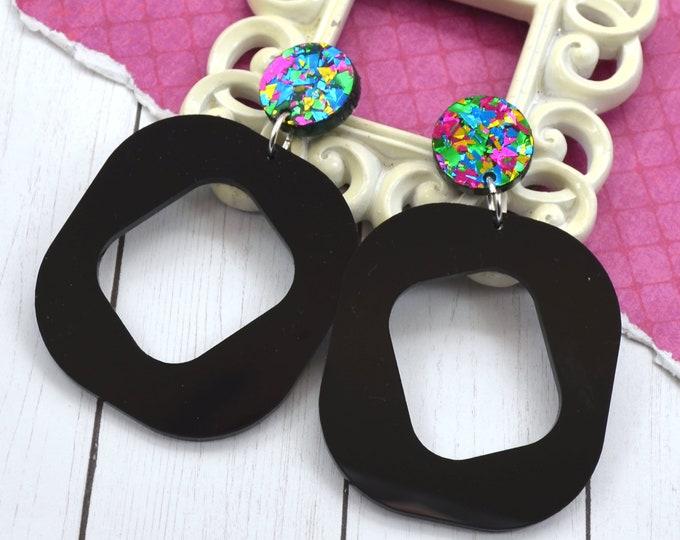 OUT ALL NIGHT - Black & Confetti Dangle Laser Cut Acrylic Earrings
