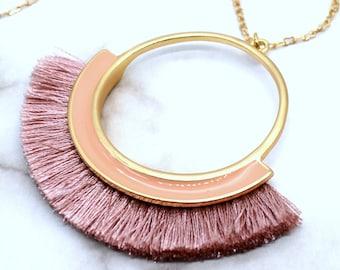 MODERN FRINGE BLUSH - Blush Fringe Necklace