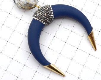 Navy Pave Crescent Horn Pendant Necklace