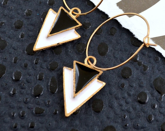 Art Deco Triangle Hoop Earrings - Black & White Enamel