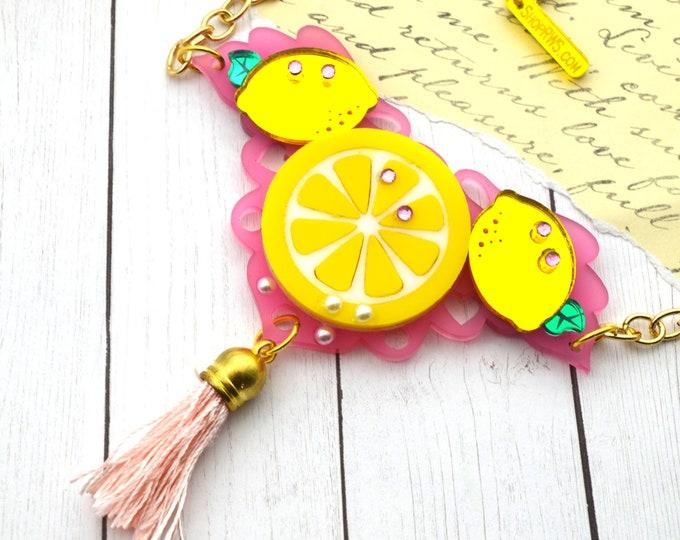 PINK LEMONADE - Pink and Yellow Lemon Bib Necklace - Summer Fruit Basket Collection