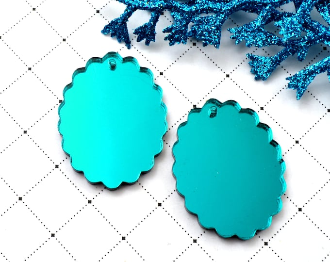 TEAL CAMEOS - 18x25 mm Frame Settings - Mirrored Laser Cut Acrylic