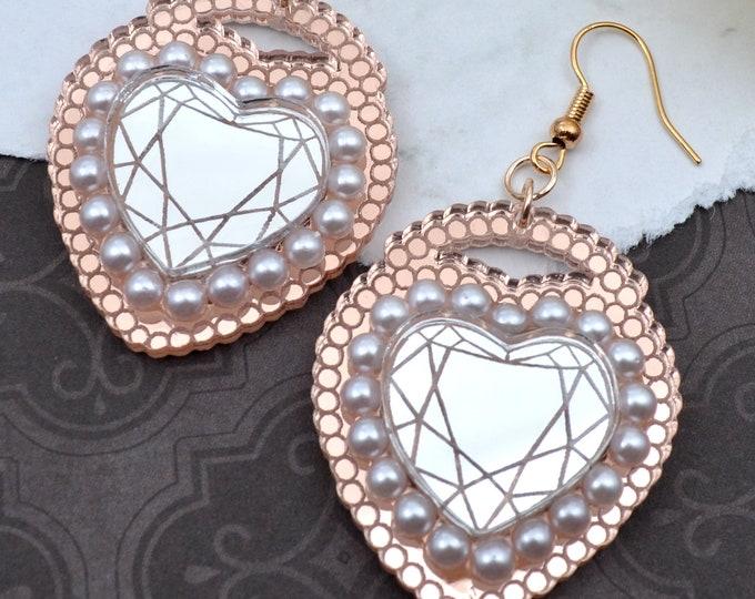 LOVE LOCKED - Laser Cut Acrylic Earrings in Rose Gold