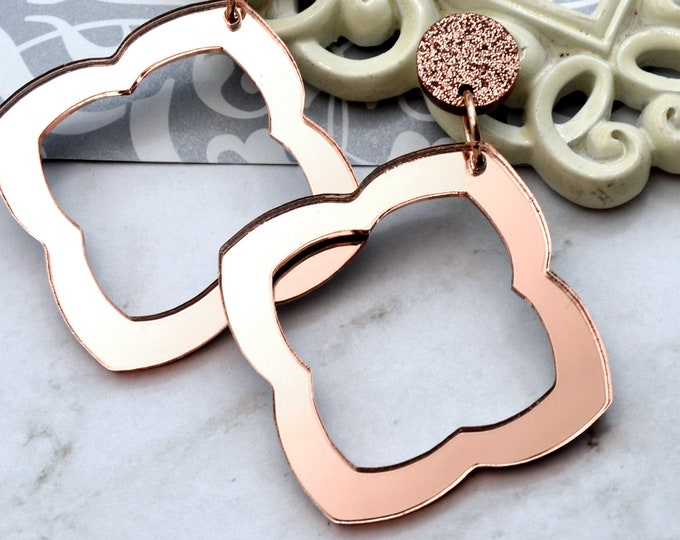 Rose Gold Moroccan Hoop Dangle Earrings Large or Small - Laser Cut Acrylic