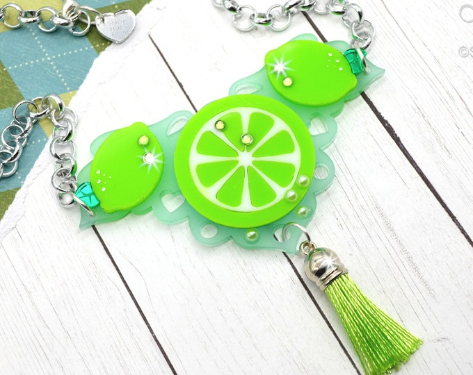 LUCKY LIME BIB - Summer Fruit Basket Collection - Necklace