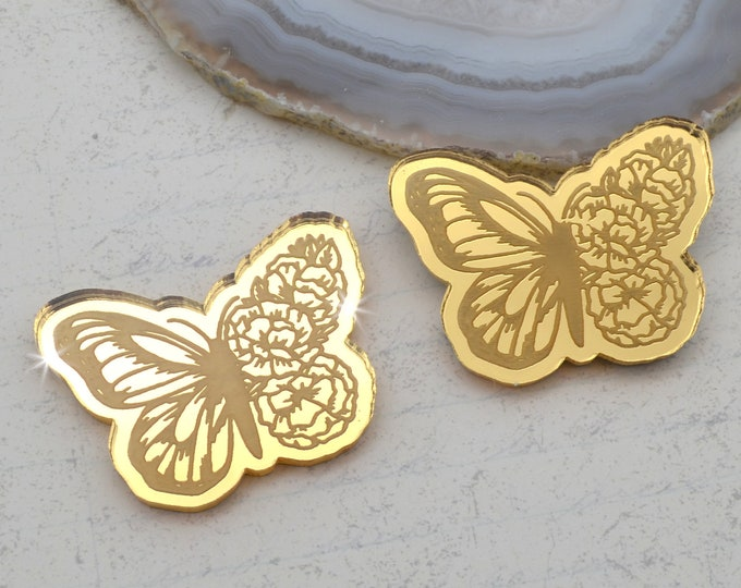 BLOOMING BUTTERFLY CABS - Gold Mirror Laser Cut Acrylic - Set of 2
