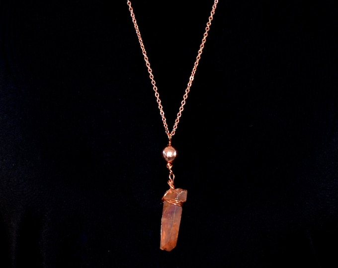 Rose Gold Quartz Couture Necklace - Hand Wire Wrapped