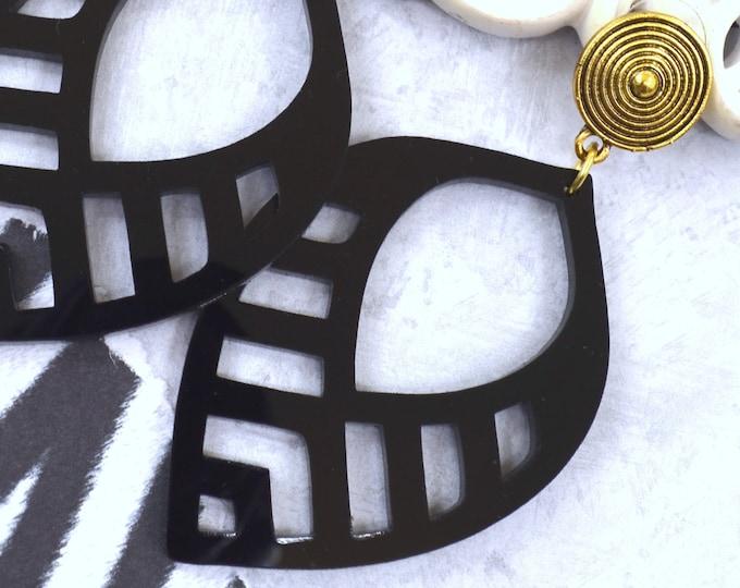 NOIR TROPIC DANGLES - Post Top Earrings - Laser Cut Acrylic