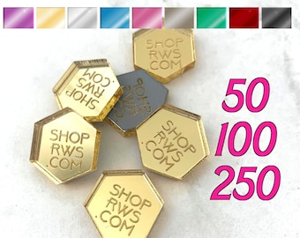 CUSTOM MIRRORED TAGS -  Hexagons - Laser Cut Acrylic - Personalized - You Choose The Color - 50, 100, or 250 - With or Without Holes