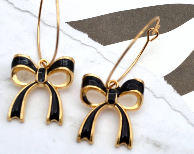Adorable Bow Hoop Earrings - Black Enamel