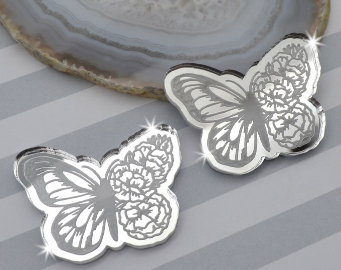 BLOOMING BUTTERFLY CABS - Silver Mirror Laser Cut Acrylic - Set of 2