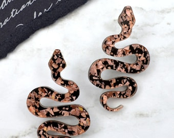 Snake Stud Dangles in Rose Gold Foil Laser Cut Acrylic