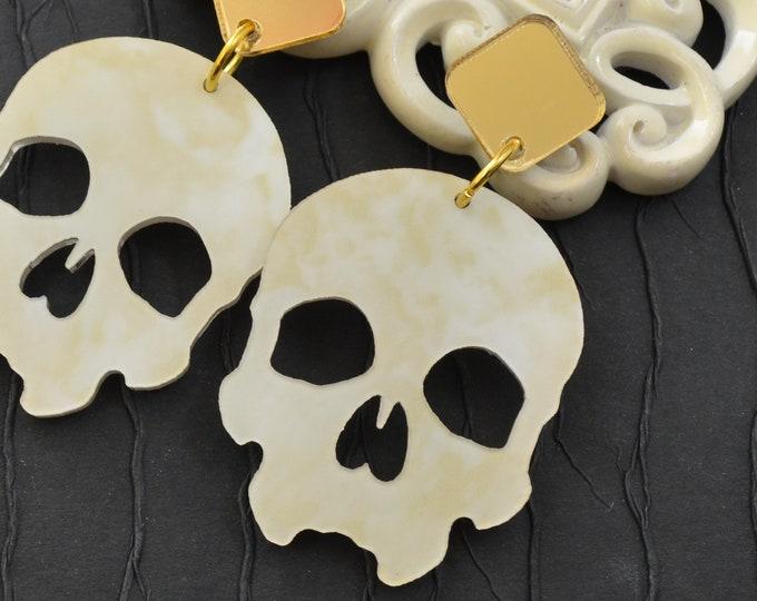 Skull Dangles in Ivory Marble - Laser Cut Acrylic Post Drop Earrings