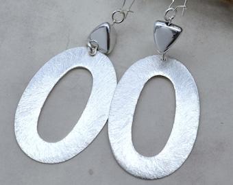 Gilded Silver Hoop Dangle Earrings