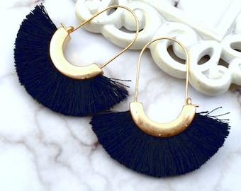 Modern Fringe Black Dangle Earrings
