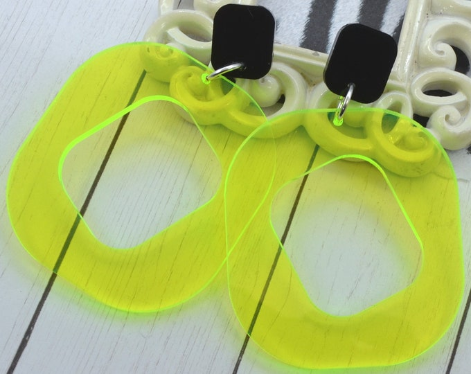 OUT ALL NIGHT - Clear Neon Yellow Dangle Laser Cut Acrylic Earrings