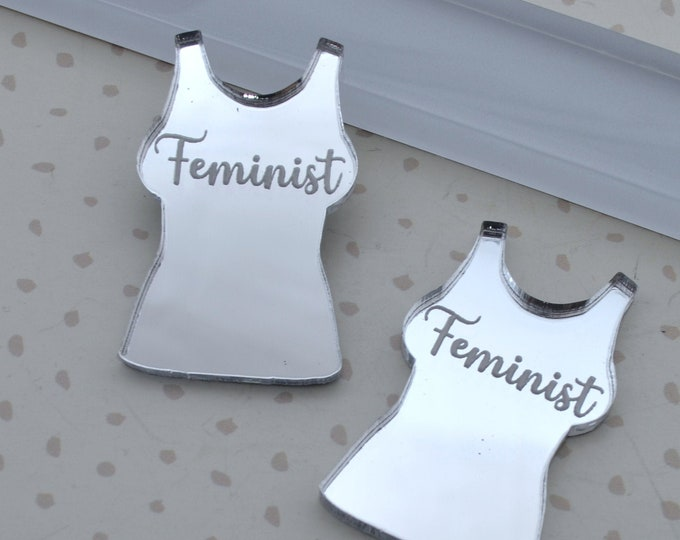 Feminist - Silver Mirror Cabs - Cabochons - flat back - Laser Cut Acrylic