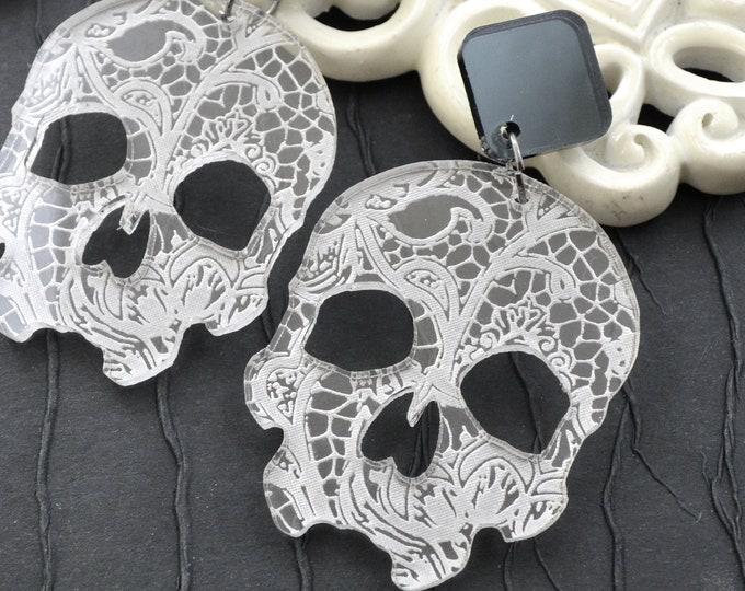 Lace Skull Dangles - Laser Cut Acrylic Post Drop Earrings