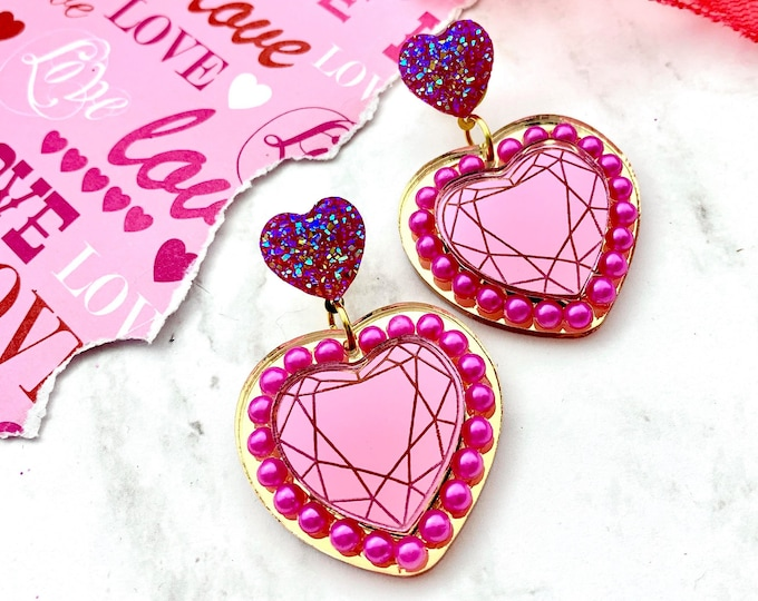 Queen Of Hearts Dangle Earrings - Pink & Gold - Laser Cut Acrylic