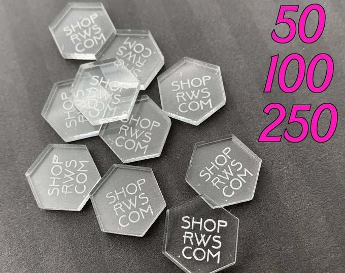 CUSTOM JEWELRY TAGS - Clear Laser Cut Acrylic - Personalized - 50, 100, or 250 - Hexagons - With or Without Holes