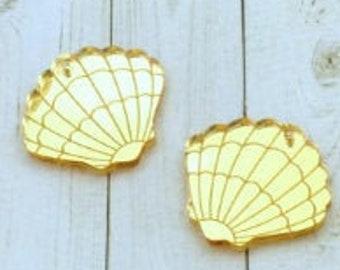 GOLD SEASHELL CHARM - Gold Mirror - flat back - Laser Cut Acrylic