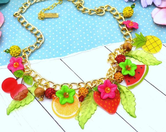 Fruit Basket Charm Necklace - Summer Fruit Basket Collection