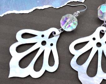 Monroe White Pearl Drop Dangles - Laser Cut Acrylic Earrings
