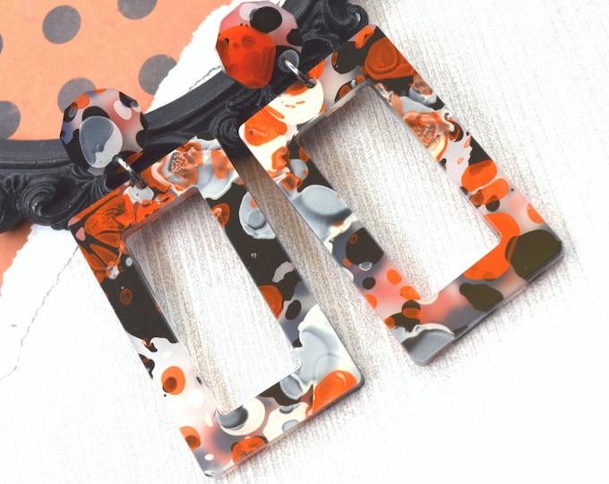 London Dangles - Orange Ink Laser Cut Acrylic Earrings