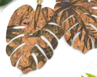 Tropical Cork Monstera Leaf Dangle - Laser Cut Acrylic Earrings
