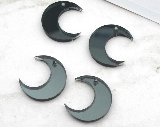 4 - Gunmetal Mirror Moon Charms - In Laser Cut Acrylic