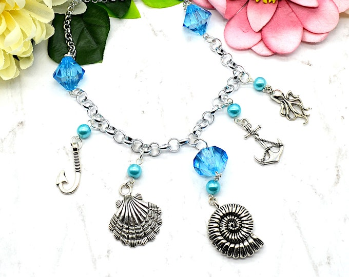 Sea Life - Blue and Silver Toned Charm Necklace