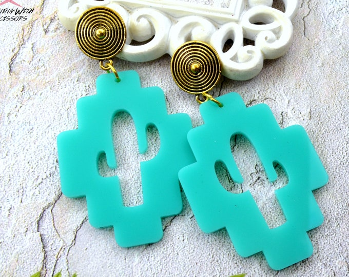SOUTHWESTERN CACTUS - Post Earrings - Laser Cut Acrylic - Geometric Glam Collection
