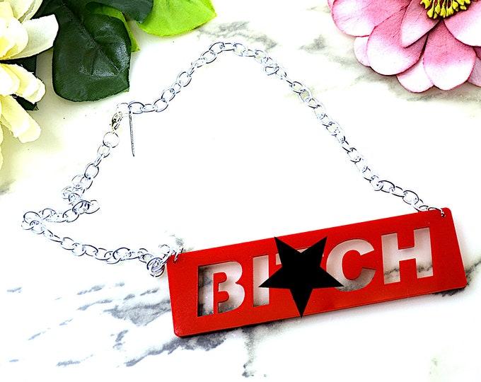 B*tch - Cutouts- Red Laser Cut Acrylic Necklace - Mature