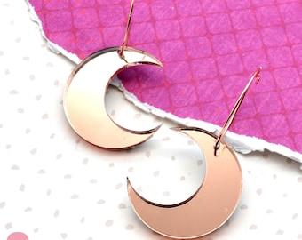 Rose Gold Mirror Moon Hoops - Laser Cut Acrylic Earrings