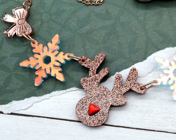 Rose Gold Reindeer Charm - Laser Cut Acrylic Necklace - Holiday Collection