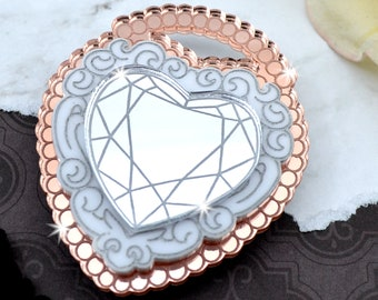 LOVE LOCKED BROOCH - Rose Gold, White & Silver - Laser Cut Acrylic