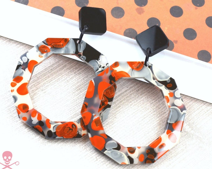 MILAN HOOPS  - In Orange Ink Laser Cut Acrylic - Post Top Dangle Earrings