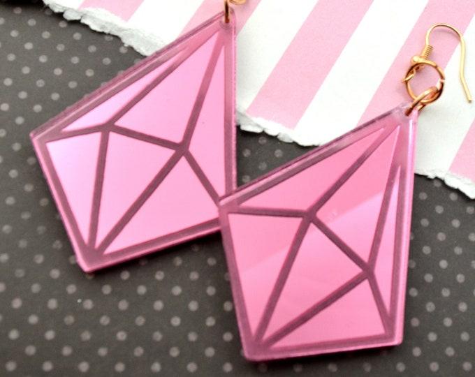 ROSE MIRROR PRISM Laser Cut Acrylic Earrings