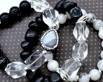 Black and White Bling Bracelet Stack - 3 pack