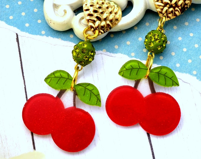 Cherries Devine Dangle - Summer Fruit Basket Collection - Stud Dangle Earrings