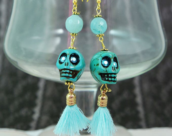 SKULLS and TASSELS - Blue Steampunk Skull Dangly Tassel Earrings