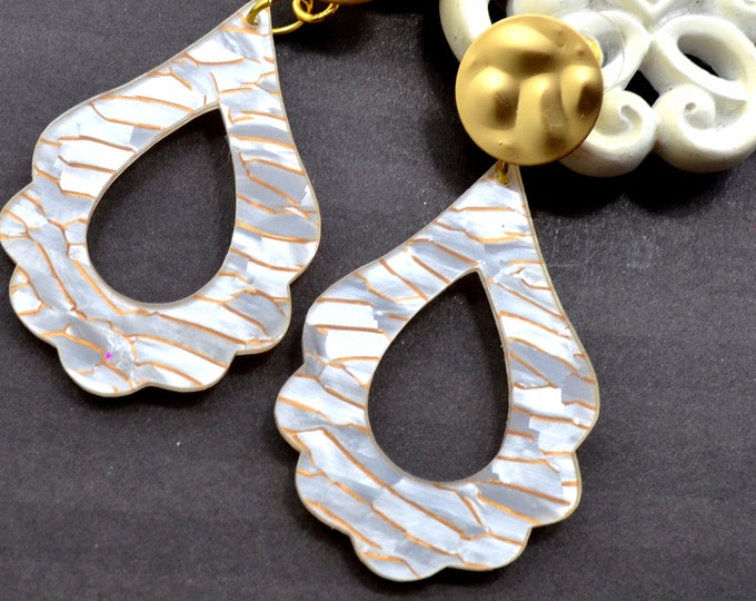 Flourish Hoops in Gold Wave Drop Dangles - Laser Cut Acrylic Earrings