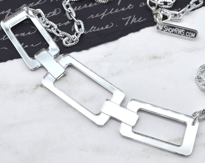 Link Me - Silver Mirror Acrylic Necklace